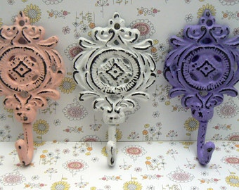 Medallion Shabby Chic Cast Iron Trio Floral Hooks Nursery White Purple Pink Home Decor
