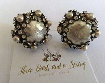 Stunning Vintage Pearl and Rhinestone Clip On Earrings