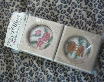 Vintage - Elsa Williams Creative Cross Stitch Kit #02022 - 4 Flowers w.Frames