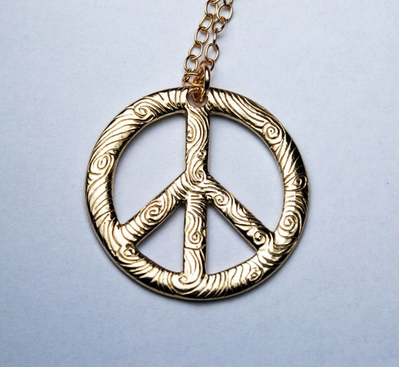 Large Gold Peace Vibe Necklace