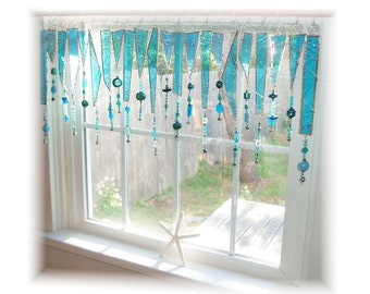 Amazing Azure Beady NUMBER ONE Stained Glass Window Treatment Valance Curtain
