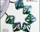 Lampwork Bead Set, Teal Green Baroque Lampwork Beads with a Wrap of Silver Glass, Made to Order, teal and silver glass bead, Bims Bangles