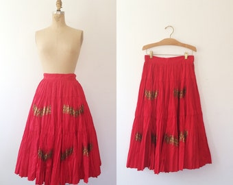 1950s skirt / 1950s circle skirt / Golden Kings skirt