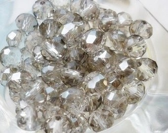 6mm AB Smoky Gray Crystal Rondelle Beads 8