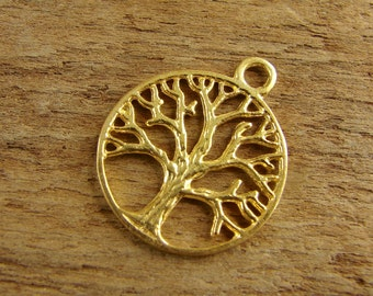 24K Gold Vermeil Round Silhouette of a Tree Pendant - One Piece - prstv