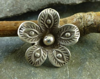 Hill Tribe Fine Silver Flower With Stamped Petals - Thai Silver Flower - Hill Tribe Findings - htfsfspLG