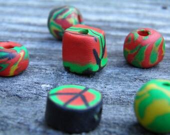Nine Assorted Polymer Clay Beads (Handmade) (One of a Kind)