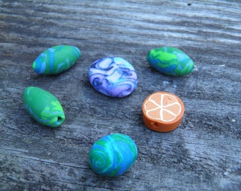 Six Assorted Polymer Clay Beads (Handmade) (One of a Kind)