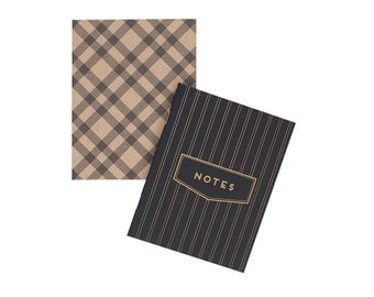 Pinstripe & Gingham Pocket Notebook Set - Journal | Blank Pages | Stitch Bound