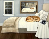 Sleepy Golden. . .Life Imitating Art (after Wyeth) . . . . .8x10 Fine Art Giclee Print by LARA Dog Puppy Retriever Lab