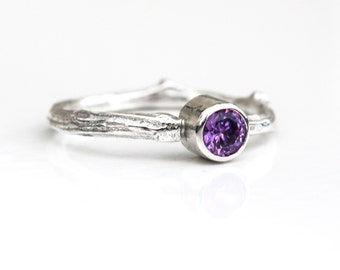Silver Twig Ring, Ecofriendly Sterling Silver Twig Ring with Amethyst, Amethyst Silver Ring, Birthstone Ring, Woodland Twig Ring