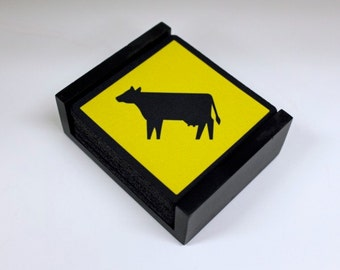 Cattle Crossing Sign Coaster Set of 5 with Wood Holder