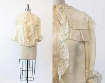 20s Silk Blouse XS / 1920s Vintage Lace Top / Clouds Go By Blouse