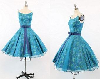 50s Dress Rose Print XS / 1950s Jonny Herbert Organza Cotton Dress / The Secret Garden Dress