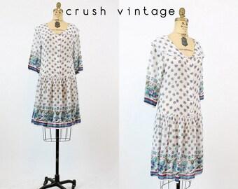 70s Adini Floral Dress Medium / 1970s Vintage Gauzy Drop Waist Dress / Breezy Summer Dress