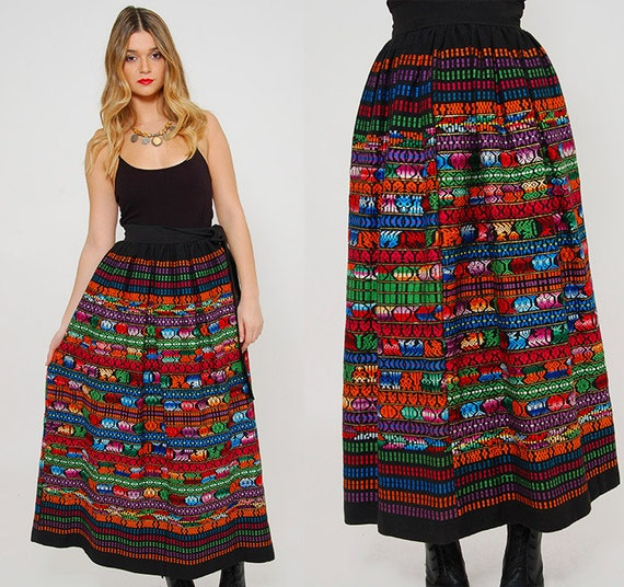 Vintage s mexican skirt embroidered ethnic maxi