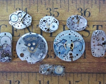Featured - Steampunk supplies - Watch movement parts - Vintage Antique Watch parts Steampunk - Scrapbooking d97