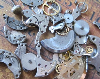 Vintage WATCH PARTS gears - Steampunk parts - d75 Listing is for all the watch parts seen in photos
