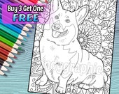 Cute Corgi - Adult Coloring Book Page - Printable Instant Download