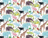 Liberty Tana Lawn Fabric Queue for the Zoo F Half Yard Animals Blue Green