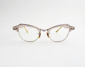 Bausch And Lomb Cats Eye Aluminum Silver Prescription Glasses Eyeglasses 4.25 to 5.5 Vintage Eyewear