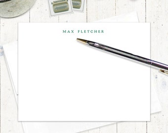 personalized note card set - PERFECTLY SIMPLE on WHITE - set of 12 flat note cards - business stationery - modern stationary