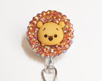 Winnie The Pooh Sparkly Tsum Tsum ID Badge Reel - Retractable ID Badge Holder - Zipperedheart