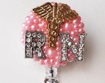 Registered Nurse And Caduceus Symbols Vintage Zipper ID Badge Reel - RN ID Badge Holder - Zipperedheart