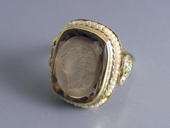 Massive vintage estate 14k gold 12.73 carat smoky quartz seed pearl Bacchante wine goddess intaglio statement ring with hearts, size 8-1/4