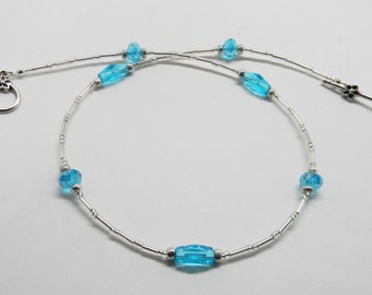 Simply Aqua Crystal beaded necklace, Simple crystal necklace, Minimalist Necklace, Aqua Choker, Silver and Aqua Necklace, Gift for her