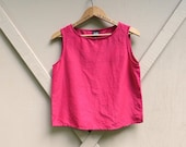 90s vintage Eileen Fisher Chinoise Red Linen-Silk Blend Tank Top/ Red Linen Blend Shell