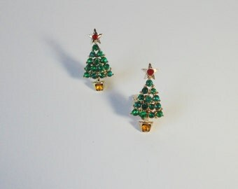 Gold Tone with Green, Red and Yellow  Rhinestones Christmas Tree Clip on Earrings