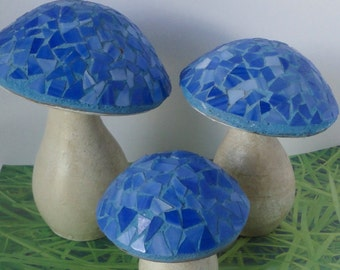 Hand Made Clay Garden Mushrooms With Blue Mosaic Caps. Set of 3