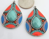 Colorful Boho Teardrop Earrings - Orange Blue Aquamarine Silver Pendant Necklace Earring Findings Long Teardrop Pendants in Antique Silver