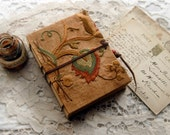 Pause - Vintage Embroidered Linen Journal, Primitive, Hand Bound, Tea Stained Pages, OOAK