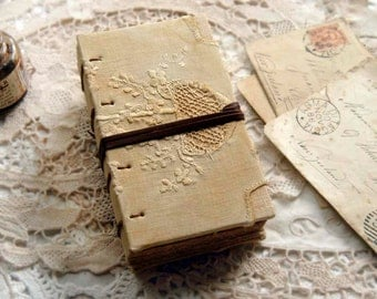 Tea On Sunday - Vintage Embroidered Linen Notebook, Tea Stained Pages, OOAK