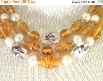 50% OFF Japan Triple Strand Amber Colored Art Glass Bead Necklace Vintage Jewelry