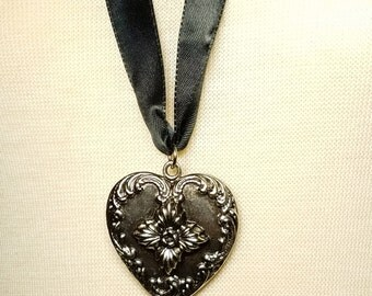 Vintage Silver Tone Heart Pendant on 28 Inch Ribbon