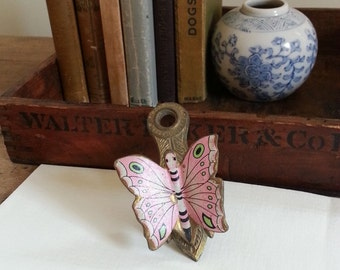 Antique Pink Butterfly Brass Clip, Unique Photo Display