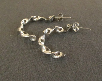Sterling Silver Twisted J Hoop Earrings