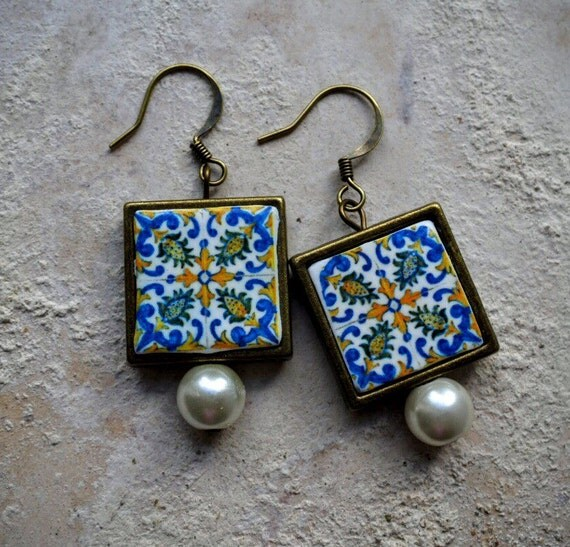 Earrings Tile Portugal Antique Azulejo FRAMED Replica - Monserrate Palace SINTRA - - waterproof and reversible 456