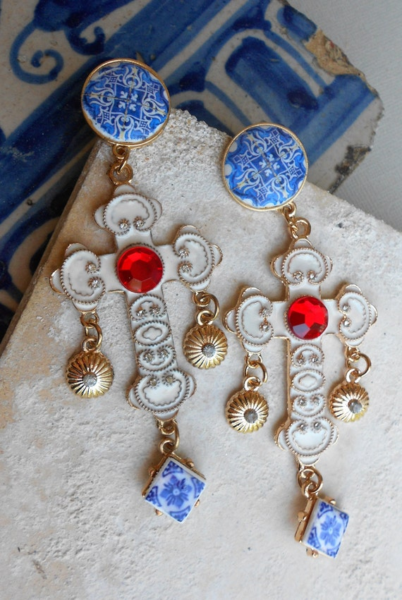 Portugal Antique Azulejo Tile Baroque CROSS Earrings - Porto (Igreja Sao Nicolau 1671) MAJOLICA - Barcelos  Blue