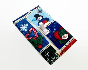 SALE Snowman Light Switch Plate Cover Snowmen - Candy Canes Christmas Home Decor - Holiday Wall Decorations Switch Plate - Present for Mom