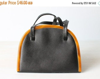 SALE Vintage Black and Carmel 1960s Purse Satchel Handbag / 1960s Purse / Novelty Handbag / Frame Handbag
