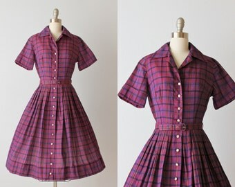 Vintage Purple 1950s Dress / 50s Dress / Shirtwaist Dress / Cotton Dress / Pleated Skirt / Freesia