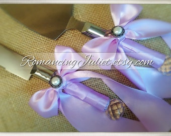Pearl Accent Satin Cake Server Set in Custom Colors ..You Choose The Bow Colors..shown in lilac