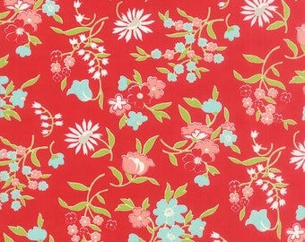 BLACK FRIDAY SALE - 3 1/2 Yards - Floral in Red - Vintage Picnic - (55125-11) - Bonnie and Camille - Moda Fabrics