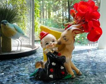 Vintage Clown and Donkey Vase - 1950's Child's Room Flower Vase Japan - Black, Red, Yellow