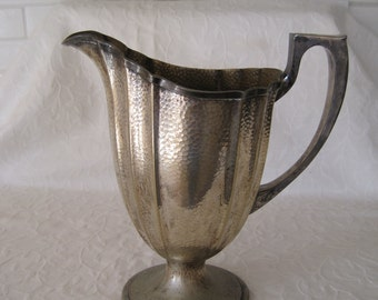 Pitcher Water Pitcher Vase Hammered Silver Plate By Bernard Rice's Sons Beat Up Wobbly Piece of Junk Made in the USA Loaded with Charm