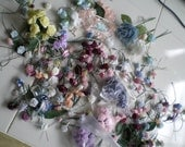 Lot of 190 Ribbon Roses Plus Additional Flowers Assorted Sizes and Colors